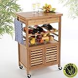 Torrex Küchenwagen aus Bambus mit Schublade und Weinregal